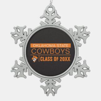 OSU Cowboys Alumni Snowflake Pewter Christmas Ornament