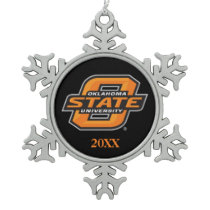 OSU Cowboys on black Snowflake Pewter Christmas Ornament