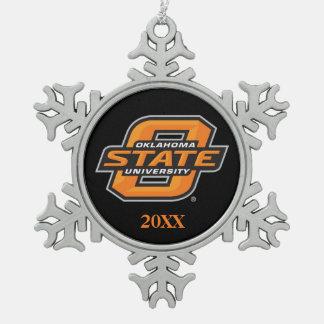 OSU Cowboys on black Snowflake Pewter Christmas Ornament