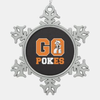 OSU Go Pokes Snowflake Pewter Christmas Ornament