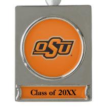 OSU Logo Silver Plated Banner Ornament