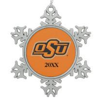 OSU Logo Snowflake Pewter Christmas Ornament