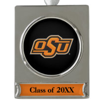 OSU Oklahoma State Silver Plated Banner Ornament