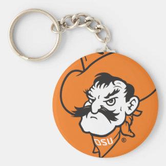 OSU Pistol Pete Head Basic Round Button Keychain
