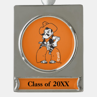 OSU Pistol Pete Silver Plated Banner Ornament
