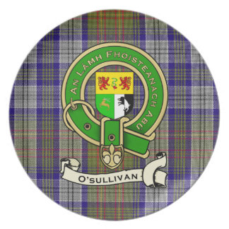 O'Sullivan Family Tartan Plaid & Clan Crest Badge Melamine Plate