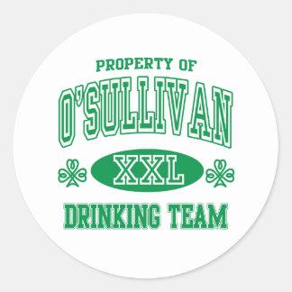 O'Sullivan Irish Drinking Team Classic Round Sticker