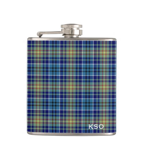 O'Sullivan Tartan Monogram Blue and Green Plaid Flask