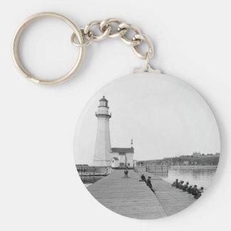 Oswego Harbor West Pierhead Lighthouse Basic Round Button Keychain