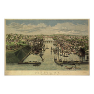 Oswego New York 1855 Antique Panoramic Map Poster