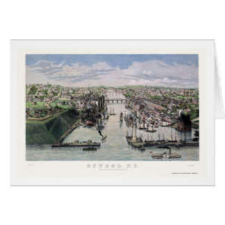 Oswego, NY Panoramic Map - 1855 Card