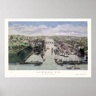 Oswego, NY Panoramic Map - 1855 Poster