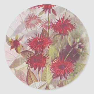 Oswego-Tea Red Floral Round Sticker | Antique