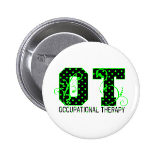 ot green and black polka dots 2 inch round button