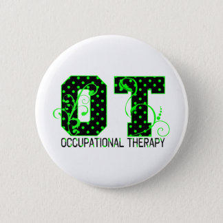 ot green and black polka dots button