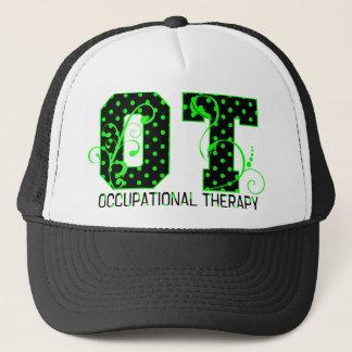 ot green and black polka dots trucker hat