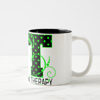 ot green and black polka dots Two-Tone coffee mug