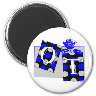 ot letter blocks blue and gray 2 inch round magnet