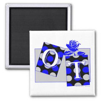 ot letter blocks blue and gray 2 inch square magnet