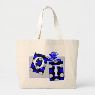ot letter blocks blue and gray jumbo tote bag