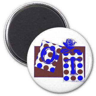 ot letter blocks blue brown 2 inch round magnet