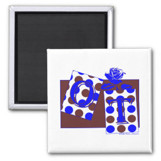 ot letter blocks blue brown 2 inch square magnet