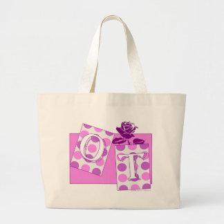 ot letter blocks pink purple bags