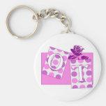 ot letter blocks pink purple basic round button keychain