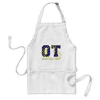 ot letters blue and yellow adult apron
