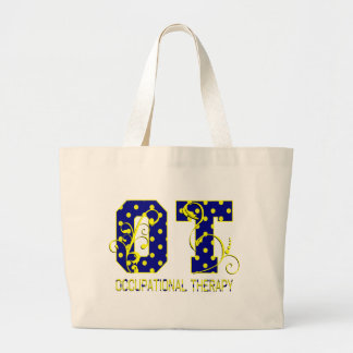 ot letters blue and yellow canvas bag