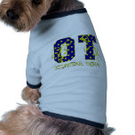 ot letters blue and yellow doggie tshirt