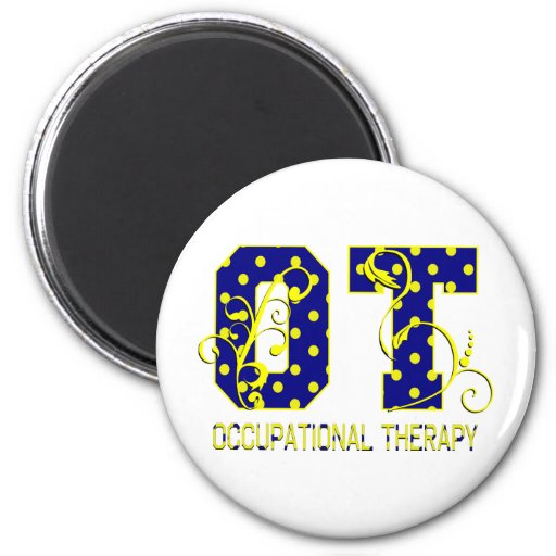 ot letters blue and yellow magnets