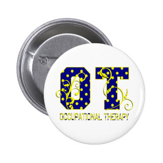 ot letters blue and yellow pinback button