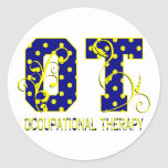 ot letters blue and yellow round stickers