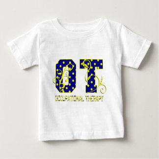 ot letters blue and yellow tee shirt