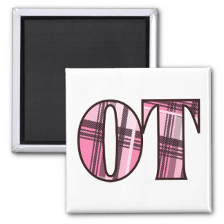 ot pink and black 2 inch square magnet