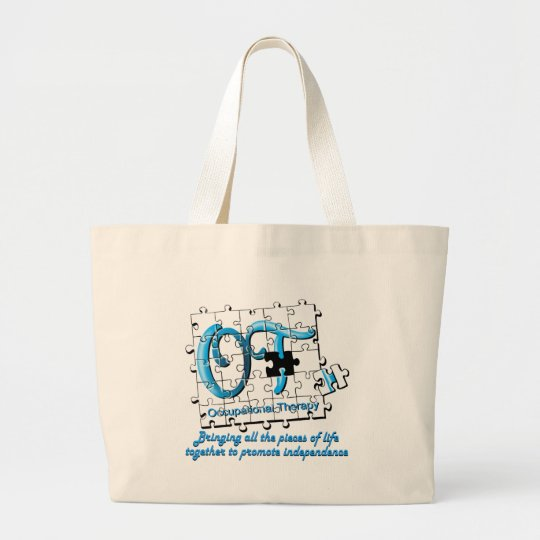 ot puzzle aqua large tote bag