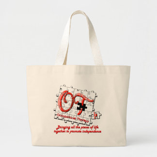 ot puzzle red large tote bag