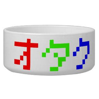 OTAKU 8 Bit Pixel Japanese Katakana Pet Water Bowl