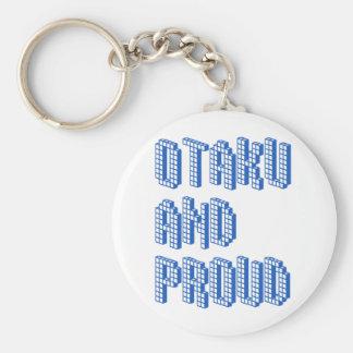 Otaku y orgulloso - azul llavero redondo tipo pin