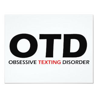 """OTD - Desorden obsesivo de Texting Invitación 4.25"""" X 5.5"""""""
