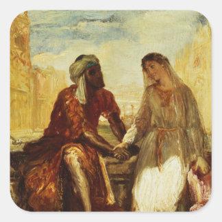 Othello and Desdemona in Venice, 1850 Square Sticker