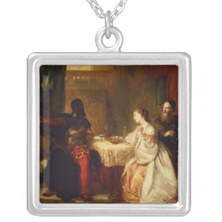 Othello Relating His Adventures to Desdemona Silver Plated Necklace