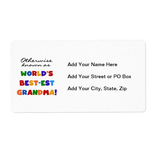 Otherwise Known as Best-est Grandma Gifts Label