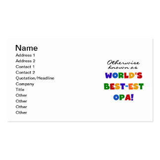 Otherwise Known as Best Opa T-shirts and Gifts Double-Sided Standard Business Cards (Pack Of 100)