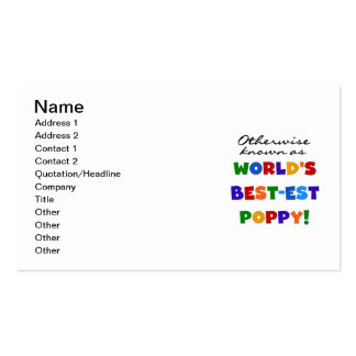 Otherwise Known Best-est Poppy Tshirts and Gifts Business Card Template