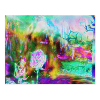 Otherworld Aquamarine Surreal Rose Postcard