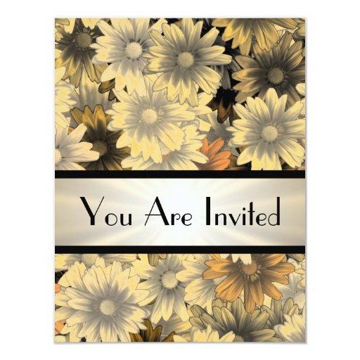 Otoño amarillo floral cualquier ocasión invitación 10,8 x 13,9 cm