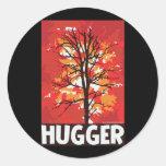 Otoño, árbol Hugger Etiqueta Redonda