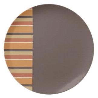 Otoño Brown con colores rayados de la especia de Platos